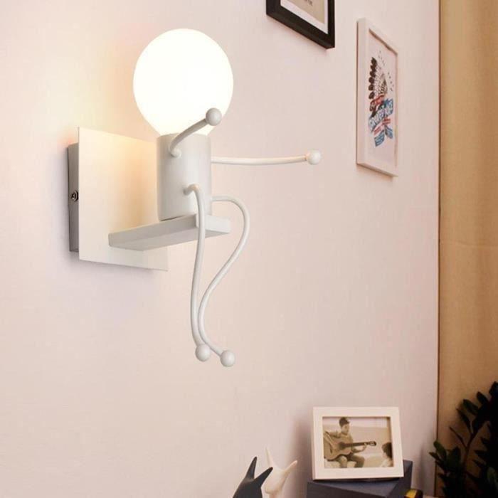 De Haute Qualite Applique Murale Moderne Mode Métal Créatif Simplicité Design Pour Chambre  Du0027enfant Eclairage Lampe Douille E27 Blanc   Achat / Vente Applique Murale  Moderne ...