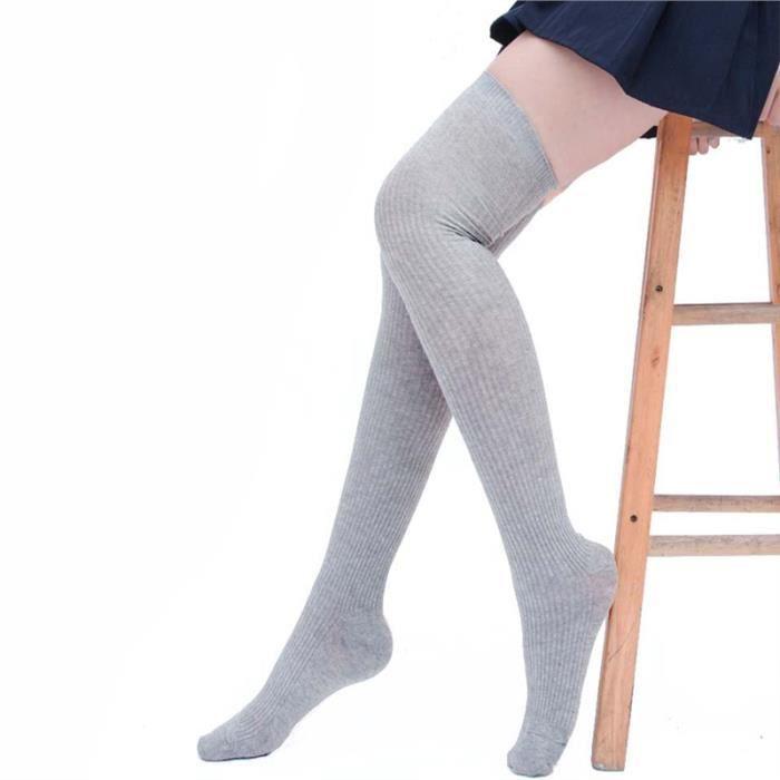 Vbiger femmes cuissardes Chaussettes en maille Boot Adorable Au-dessus du genou gris clair