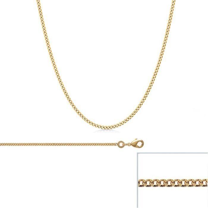 Chaine Plaqué Or maille Gourmette largeur 1,5mm (70 cm)