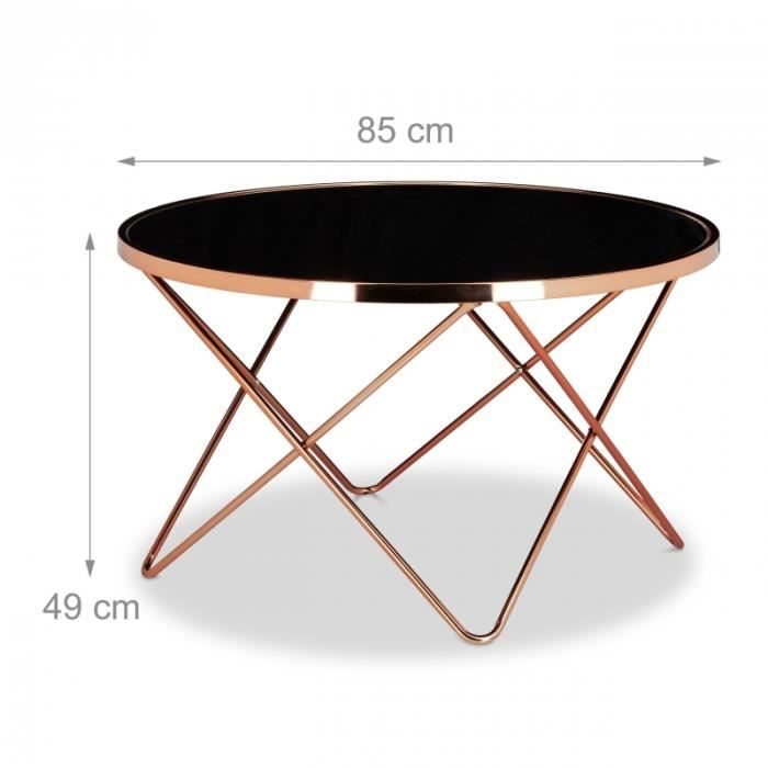 table basse ronde diam tre 83 cm cuivre et verre noir. Black Bedroom Furniture Sets. Home Design Ideas