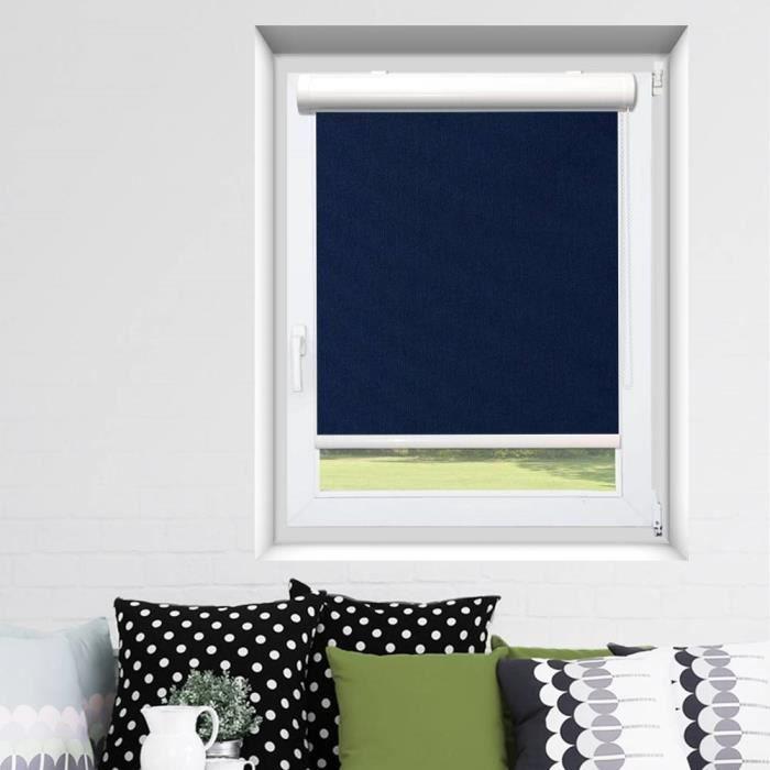 Store Enrouleur Coffre Easy Roll Occultant Bleu 107cm X 150cm