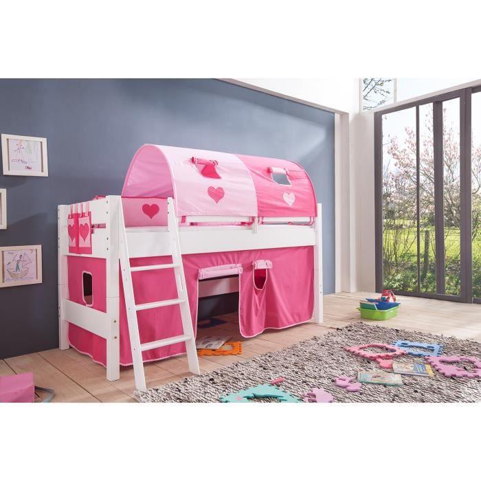 lit mi hauteur enfant 90x200 coloris blanc d co rose achat vente lit mezzanine lit mi. Black Bedroom Furniture Sets. Home Design Ideas