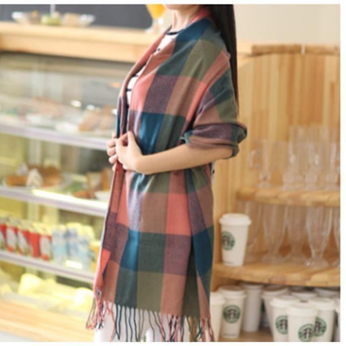 3a39bc38e45d Mode laine hiver écharpe femmes écharpe à épais marque châles et foulards  pour les femmes