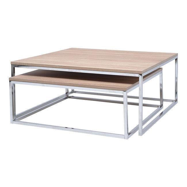 Set 2 Tables Basses Gigognes Bois Metal Achat Vente Table