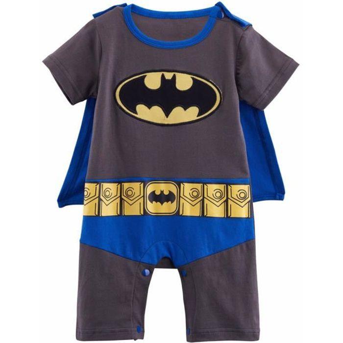 0fc6e8f81a9eb Vêtements de bébé Garcon Batman Cosplay Grenouillères Manches Court enfant  0-24M