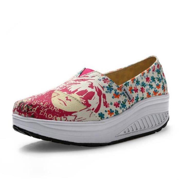 Chaussures femme de plate-forme Marque De Luxe Moccasins Augmenter les chaussures Talons hauts Grande Taille Nouvelle Mode Loafer D8kuB