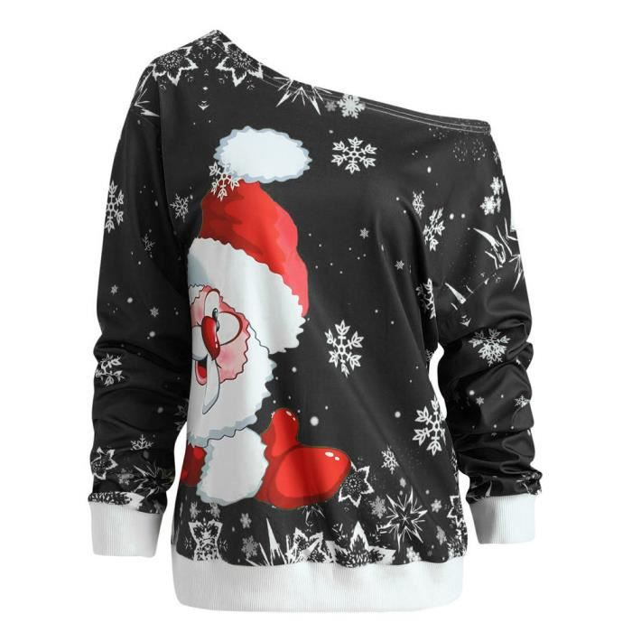 Joyeux Noel Imprimer.Mode Feminine Joyeux Noel Pere Noel Imprimer Collier Obliquite Sweat Chemisier Www6583