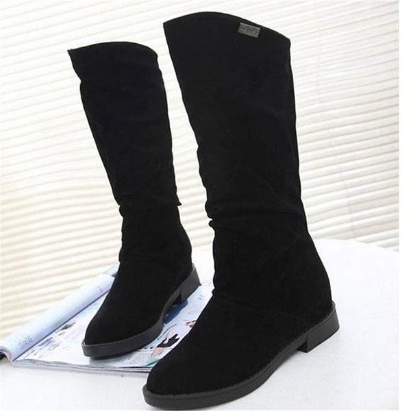 Nouvelles femmes gardent peluche talon plat bottes chaudes et confortables en daim à mi-mollet emmancher