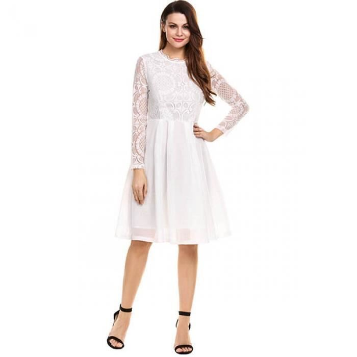 robe Femmes manches longues Lace Patchwork Sexy longueur robe