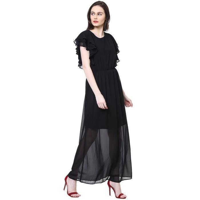 Womens Black Solid Dress(gr5142-black) Y7D1T Taille-38