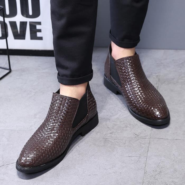 Chaussures de homme bout pointu Bottes de tricotage d'affaires Bottes de loisirs Chaussures respirantes Bottes hautes en cuir
