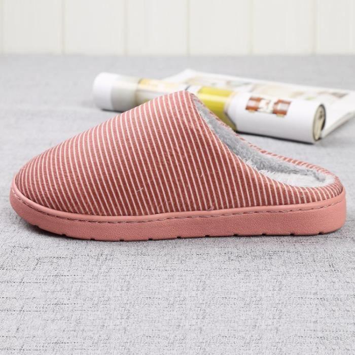 couple unie coton de tissu rouge cuir qualité velours pantoufles en chaussons haute couleur avec épais des 42 confortables 86qq5Bwg