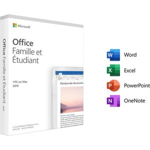 BUREAUTIQUE Microsoft Office Famille et Etudiant 2019 - 1 PC o