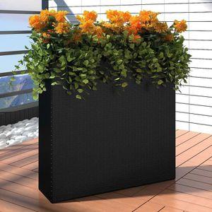 JARDINIÈRE - POT FLEUR  1 Bac Rectangle Pot de Fleurs en Rotin Noir