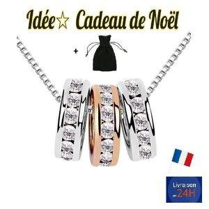SAUTOIR ET COLLIER COLLIER FEMME IDEE CADEAU DE NOEL TRIPLE ANNEAUX E f5ab65c848a