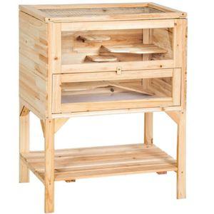 CAGE Cage en bois 4 étages pour petits rongeurs animaux