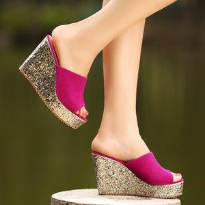 SANDALE - NU-PIEDS Talon haut Chaussures Chaussons été femme platefor