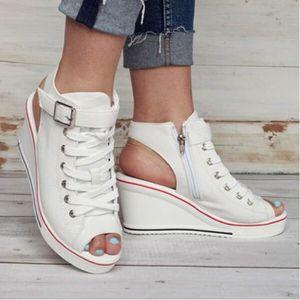 c08ca1db15e653 ESCARPIN Femmes Chaussures montantes en toile Peep Toe Bouc