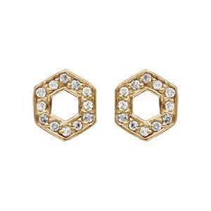 Boucles doreille tige plaqué or forme hexagonale