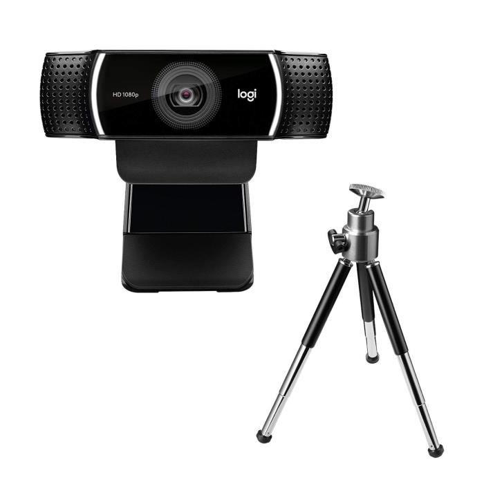 LOGITECH Webcam C922 Pro Stream - Diffusion FULL HD 1080p/30FPS ou 720p/60FPS avec Microphone et Trépied Ajustable (Fonctionne avec