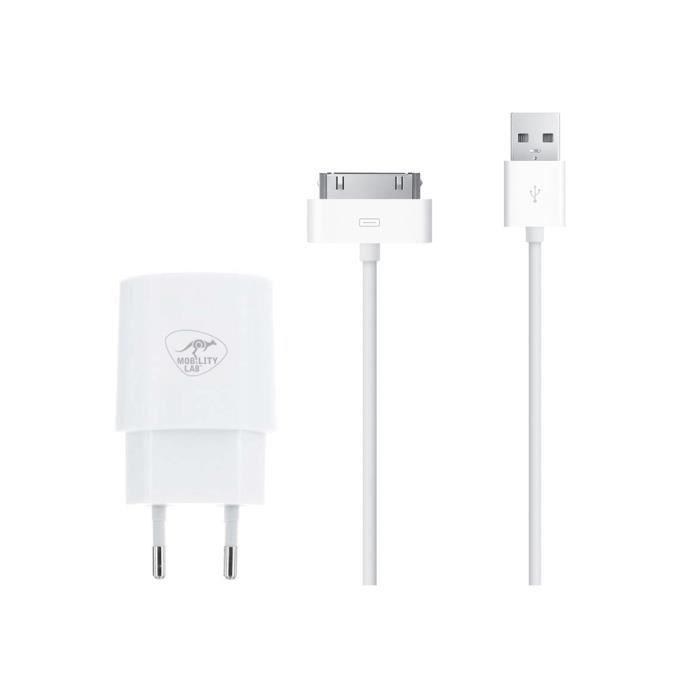 ML Chargeur mural USB + câble USB 30 pins