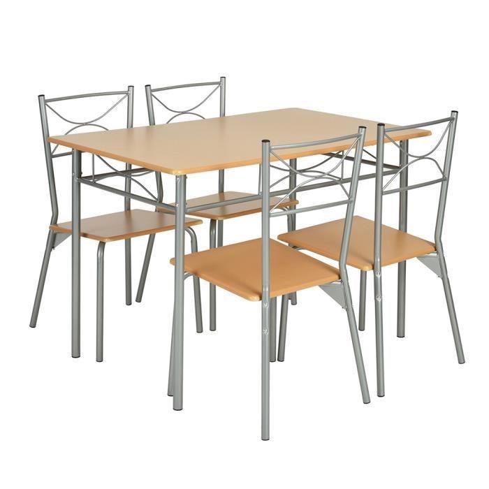 Et Chaises En Pied 4 À Furniturer Bois Métal De Manger Table Cuisine rBedxoC