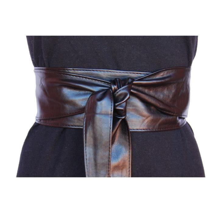 Ceinture large noire façon corset à nouer TU Noir - Achat   Vente ... 093195454b1