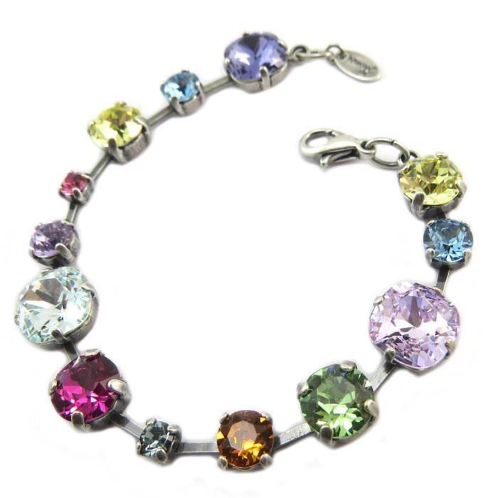 Bracelet artisanal Tsarine multicolore argenté - 17 cm 1 cm [P5508]