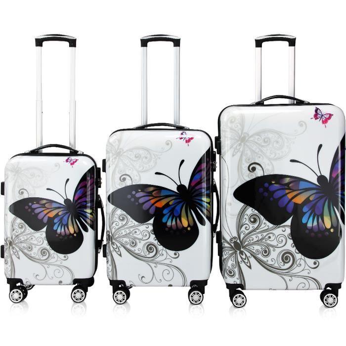 lot 3 valises butterfly renforc es set de voyage avec verrou roulettes 360 blanc blanche. Black Bedroom Furniture Sets. Home Design Ideas