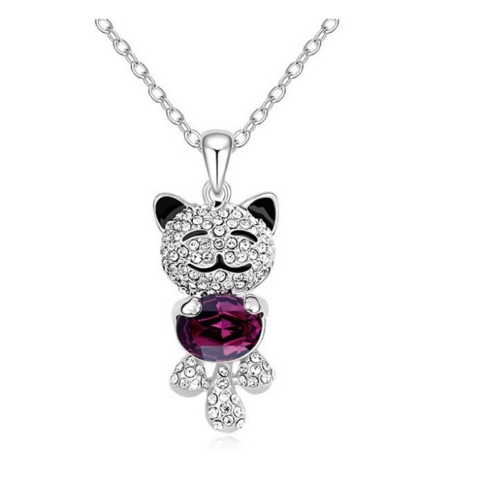 (violet) Collier Cristal - Ours dange.