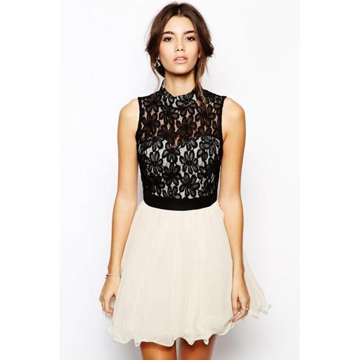 robe blanche et dentelle noire m blanc achat vente robe cdiscount