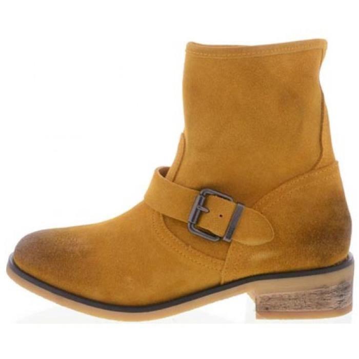 DIESEL mi-bottes femme cuir BLYDGE jaune
