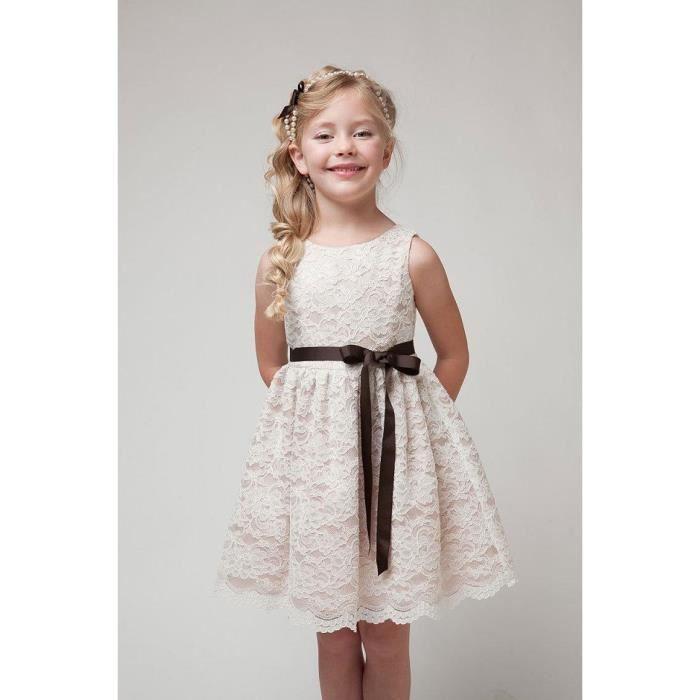 a124b3a927942 Bébé fille robe dentelle Flower Girl Casual rob... Beige - Achat ...