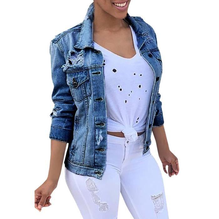 m 5xl veste femme courte en denim jacket jeans effet. Black Bedroom Furniture Sets. Home Design Ideas