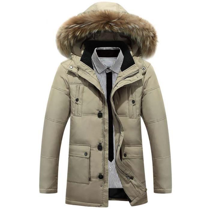 Chaude Doudoune Mi Veste Casual Fourrure Homme D'hiver Capuche wTqx7YvnTz