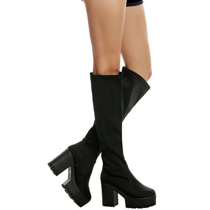 Femmes talon moyen élastique plate-forme bottes sur le genou cuissardes pointure