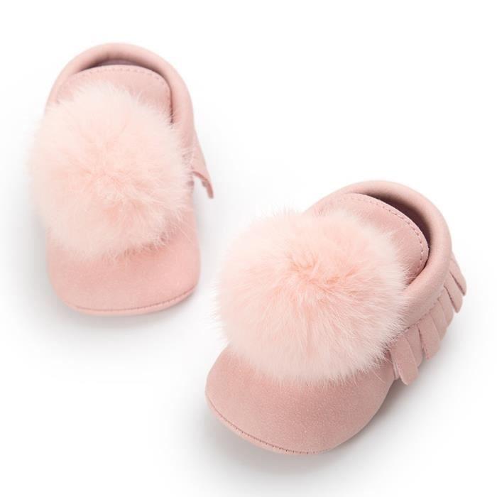 Les glands de boule de bébé maintiennent chaud Leater chaussures Sneaker anti-dérapante de chaussure pM2ZWNX7