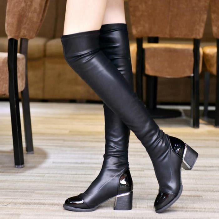 cuir véritable sur les bottes du genou pour les femmes solides bout pointu haute couture bottes talons élégant de qualité