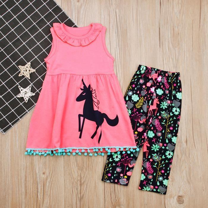 027aaae6ccc28 2-7 Ans Fille Enfant Licorne Imprimé 2 Pcs Ensemble de Vêtement - Robe Rose    Pantalon à Fleurs Multicolore