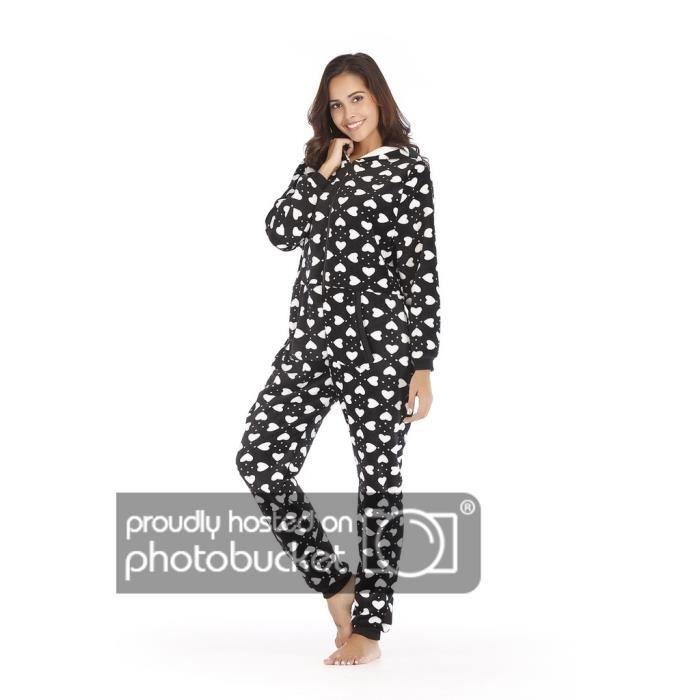rechercher le dernier emballage élégant et robuste beaucoup à la mode Femme Combinaison Pyjama à Capuche en Flannel Onesies Noir XS