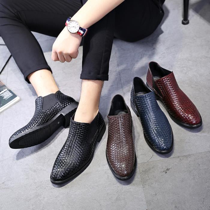 Chaussures de homme bout pointu Bottes de tricotage d'affaires Bottes de loisirs Chaussures respirantes Bottes hautes en cuir tR5rVuS1P