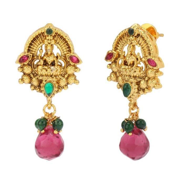 Femmes Temple South Indian Rani vert en alliage métallique Ensemble de bijoux avec collier et boucles doreilles pour Ladi LC305