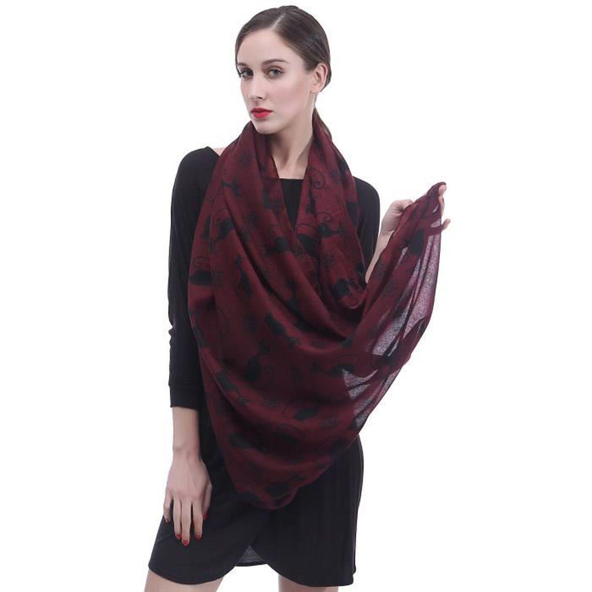 eb59eb594aad Écharpe Foulard pour Femme Imprimé Chat-Rouge Fonce+Noir - Achat   Vente  echarpe - foulard 2009335273088 - Soldes  dès le 9 janvier ! Cdiscount