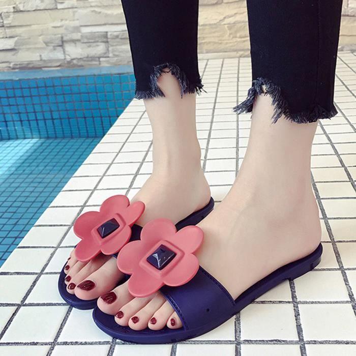 Chaussures Mode Femmes Solide Bleu Plat Sandales De Rond Plage Bout Slipper Talon Fleur zddrqFw