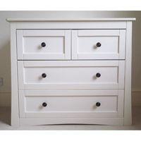 Commode enfant en bois de 4 tiroirs coloris crème - Dim : H 102 x L 100 x l 54 cm