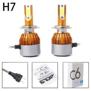 PHARES - OPTIQUES 2pcs C6 LED Phare de voiture Kit COB H7 36W 7600LM
