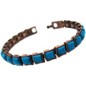 BRACELET - GOURMETTE Bracelet cuivre femme pierre bleu magnetique 21 ai
