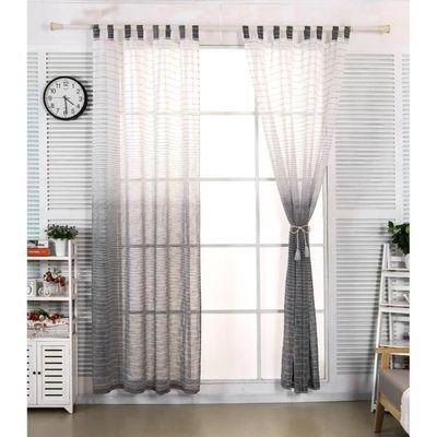 WOLTU Lot de 2 rideaux transparent avec des boucles en lin rayé ...