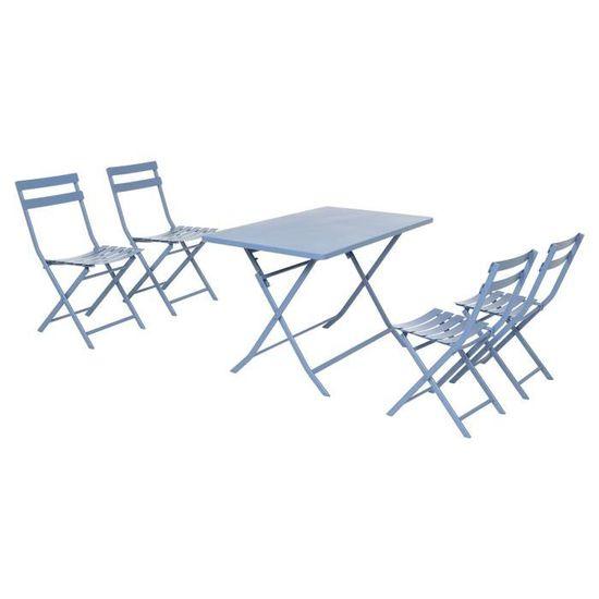 Salon de jardin rectangle Greensboro Bleuet 4 places Hespéride ...