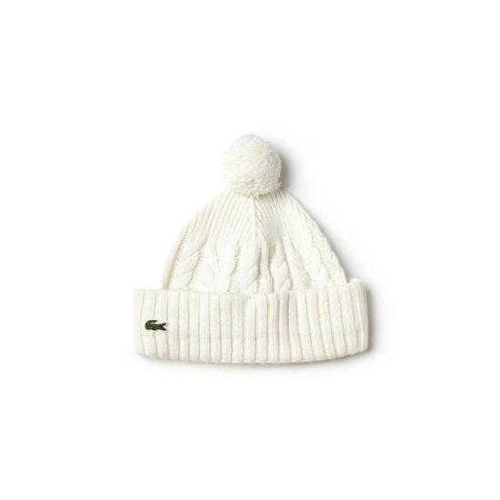 Bonnet Lacoste en laine et alpage torsadés écrue. - Achat   Vente bonnet -  cagoule 3614034914089 - Cdiscount d43146b081a